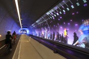 «Tunnel de la Croix-Rousse, som har eget tunnelløp for syklister, gående  og kollektivtrafikk»  Fotograf: Frode Aarland